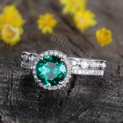 1.2 Carat Round Emerald Engagement Ring Set Diamond Matching Band White Gold Vintage Flower Stacking 14K/18K