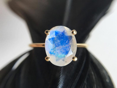 Rainbow  Moonstone Engagement Ring rose gold