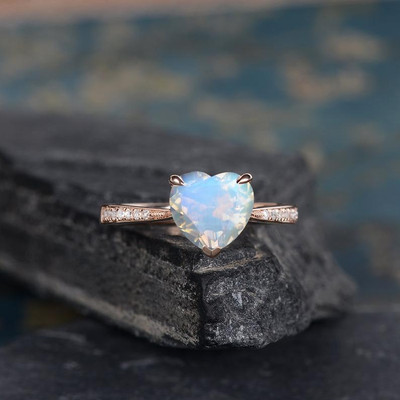 Heart Shaped Moonstone Engagement Ring