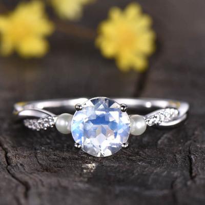 Rainbow Moonstone Ring-BBBGEM Moonstone And Pearl Ring