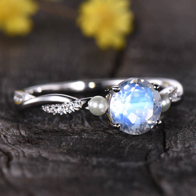 Moonstone And Pearl Engagement Ring White Gold 0