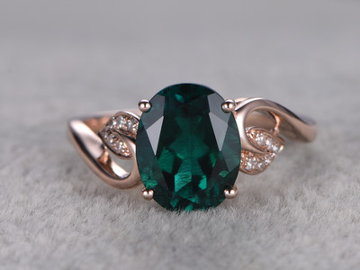 1.8 Carat Lab-created Emerald Diamond Engagement Ring Vintage Promise Ring Rose Gold Flower Leaf Band 14K/18K