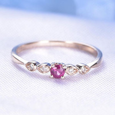 Ruby Engagement Ring Solid 14k Rose Gold Art Deco Diamond Wedding Ring 3mm Round Cut Natural VS Pink Ruby SI Diamond Band Solitaire Ring