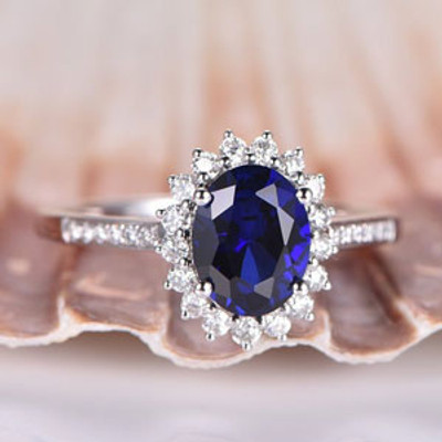 Blue Sapphire Engagement Ring White Gold Diamond Floral Promise Ring Solid 14k Diamond Wedding Band 7x9mm Oval Cut Lab Sapphire