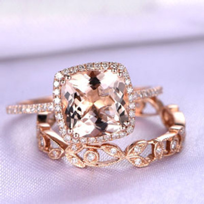 Morganite and art deco diamond band