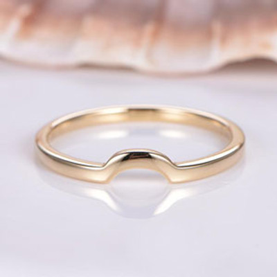 Plain Gold Ring Yellow Gold Wedding Ring Curved Plain Gold Matching Band Solid 14K Promise Ring Handmade Jewelry Stacking Ring