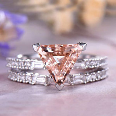 Trillion Cut Morganite Ring Set