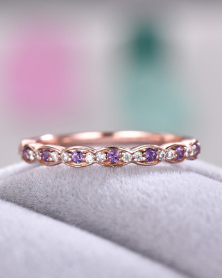 Half Eternity Amethyst Diamond Wedding Band