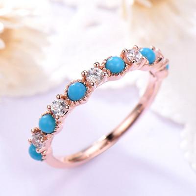 Turquoise Diamond Wedding Band Rose Gold 0