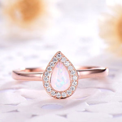 Pear Shaped Opal Engagement Ring Diamond Halo Silver Rose Gold Plated