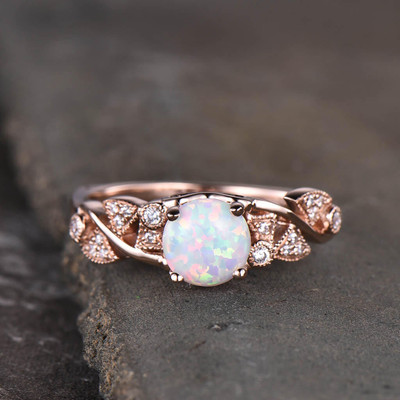 Art Deco Opal Engagement Ring