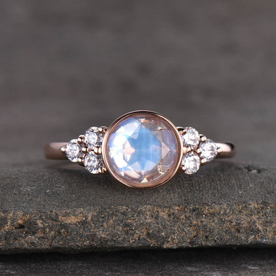 Bezel Set Moonstone Engagement Ring