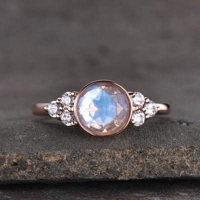 Bezel Set Moonstone Engagement Ring