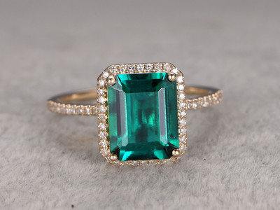 2.6 carat Emerald Diamond Engagement Ring Yellow Gold Halo Promise Ring Big Stone 14K/18K