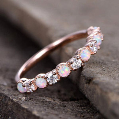 Vintage Opal Diamond Wedding Ring Rose Gold