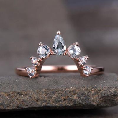 Crown Wedding Band Aquamarine Wedding Band Curve Wedding Ring Stacking Ring Chevron Ring Rose Gold Anniversary Ring