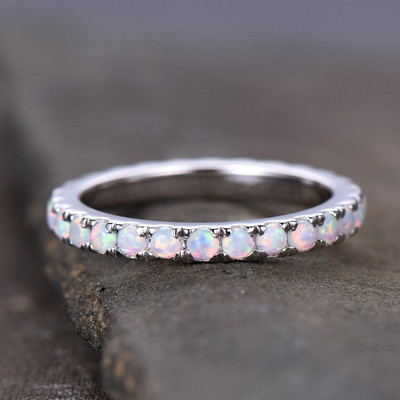 Opal Ring,Opal Wedding Band,Eternity Band,Stacking Ring,Matching Band,Promise Ring,Anniversary,Gift for Women,14k White Gold