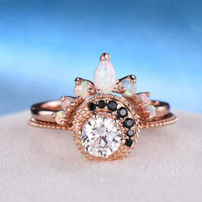 Moissanite and opal Bridal Set