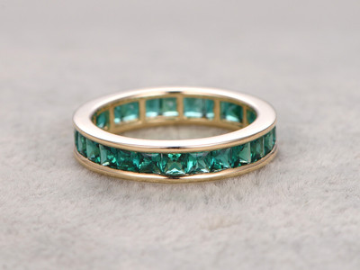 Emerald Wedding Band 14k Yellow Gold Princess Cut Stone Anniversary Ring Channel Set