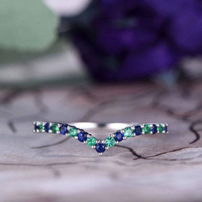 Natural Emerald & Sapphire Wedding Band,14k White Gold,Curved V,Anniversary,Promise ring,Half Eternity,Stackable,Bar Setting,Gift for her