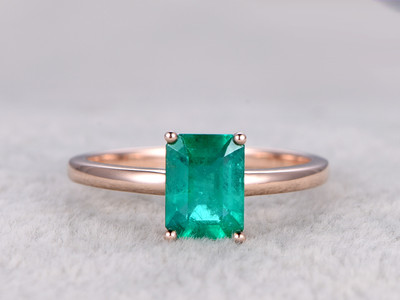 6x8mm Emerald Solitaire Engagement Ring Rose Gold Promise Ring Big 14K/18K