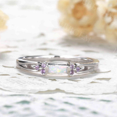 Opal Wedding Band Amethyst Engagement Ring 6