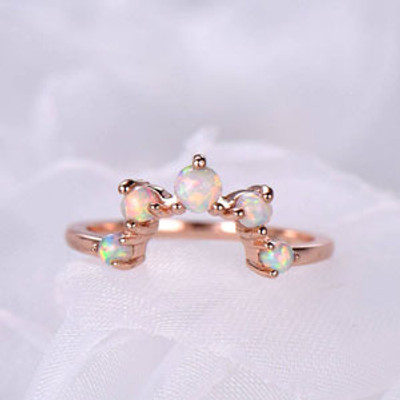 Opal Wedding Band Art Deco Curved 14k Rose Gold Stacking Ring Promise Bridal Matching Ring Women Anniversary Gift for Her
