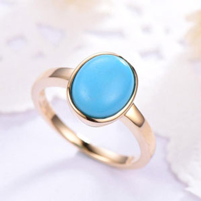 Oval Turquoise Engagement Wedding Ring Art Deco 14k Yellow Gold Stacking Ring Promise Bridal Ring Women Anniversary Gift for Her