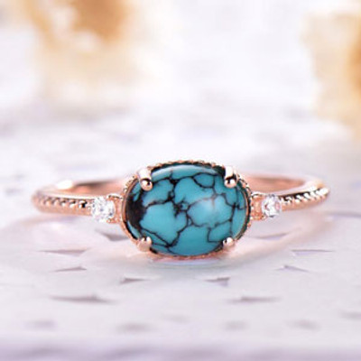 Oval Turquoise Engagement Ring Art Deco