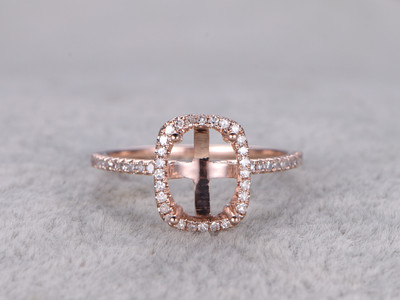 6x8mm Diamond Engagement Ring Settings Rose Gold Oval Cut Semi Mount Halo Thin Stacking 14K/18K