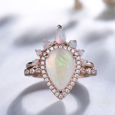 Pear Shaped Opal Wedding Ring Set