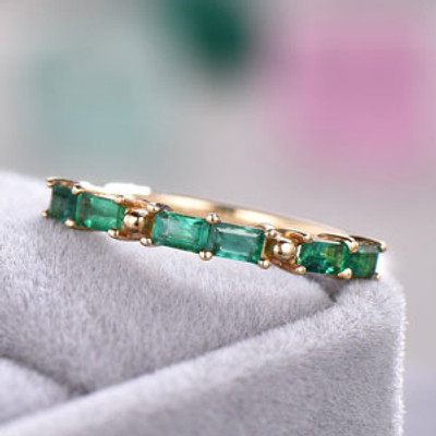 Lab Created Emerald Wedding Band 14k Yellow Gold