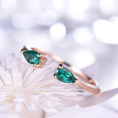 Open Gap Emerald Wedding Band Art Deco