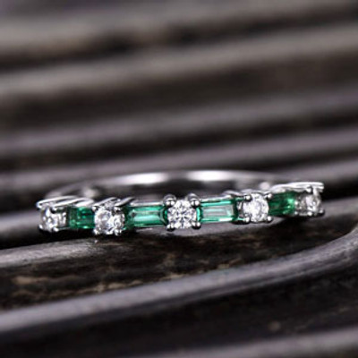 Emerald and Moissanite Wedding Band