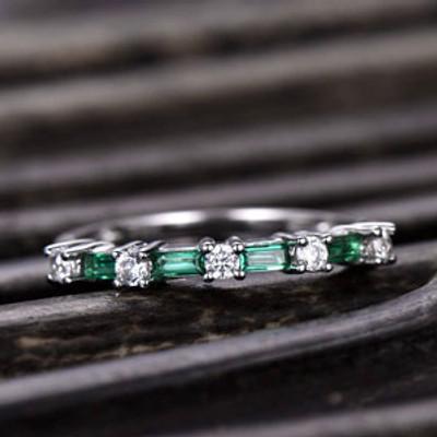 Emerald and Moissanite Wedding Band