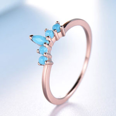 Curve Turquoise Wedding Band