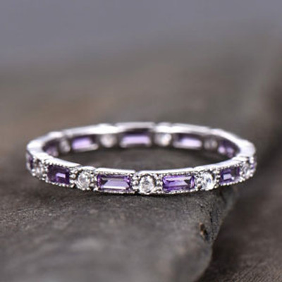 Amethyst Wedding Ring Amethyst Ring Full Eternity Moisanite Ring White Gold February Birthstone Ring Purple Gemstone