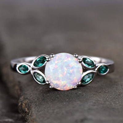 Opal and Emerald Engagement Ring White Gold