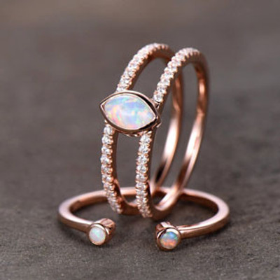 Split Shank Opal Wedding Ring Set