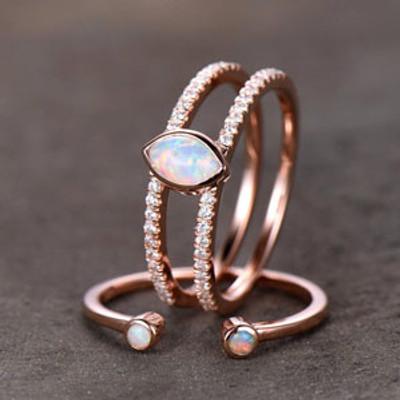 Split Shank Opal Wedding Ring Set