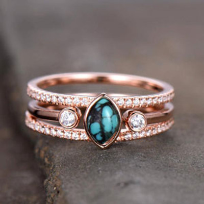 Turquoise Ring Vintage Turquoise Wedding Ring Set 4x6mm Marquise December Birthstone Unique Diamond Band Rose Gold Ring Set