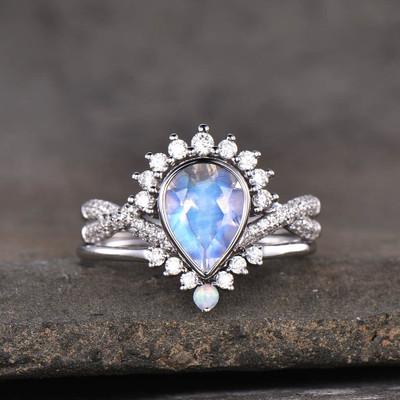 pear shaped moonstone engagement ring-BBBGEM moonstone gemstone engagement rings