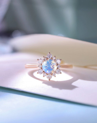 floral Moonstone engagement ring rose gold