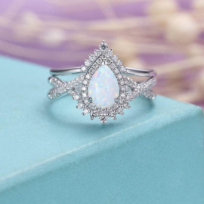 Vintage Opal Diamond Engagement Ring Set 0