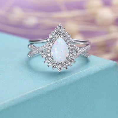 Vintage Opal Diamond Engagement Ring Set 0