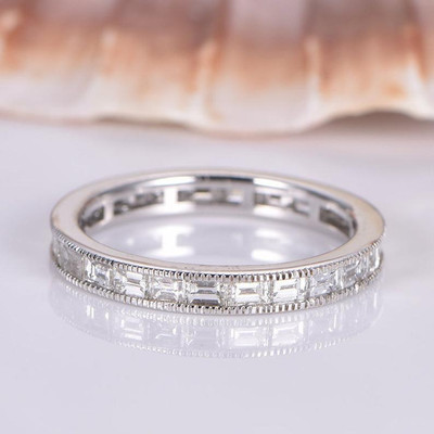 Baguette Cut Moissanites Wedding Band
