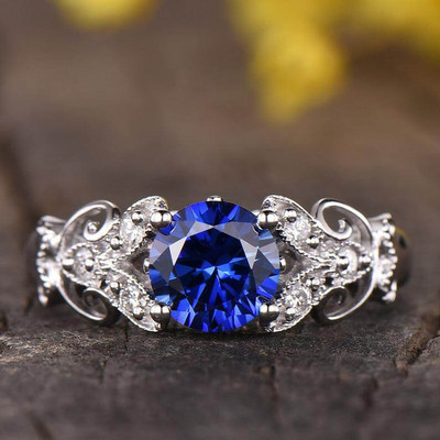 Floral Sapphire Engagement Ring-BBBGEM Round Sapphire Ring