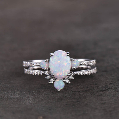 Opal Bridal Set White Gold