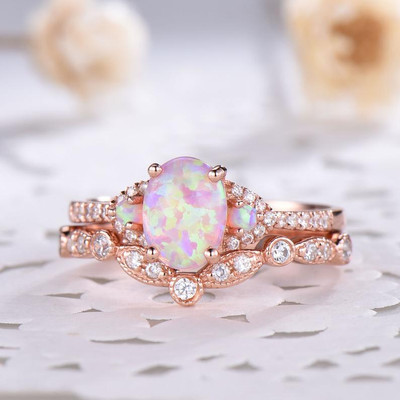 pink opal engagement rings rose gold plated