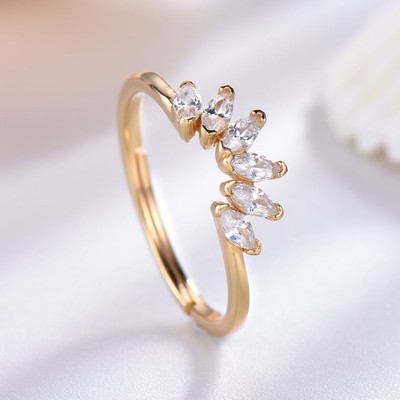 Cubic Zirconia Wedding Band Sterling Silver Yellow Gold Plated Curved